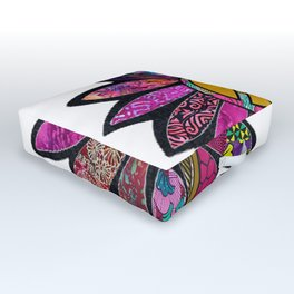 Fuchsia fun peace sign flower Outdoor Floor Cushion