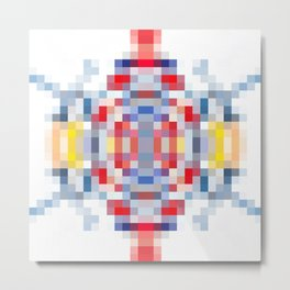 geometric square pattern pixel abstract in blue red yellow Metal Print