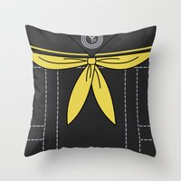 persona 4 Throw Pillows featuring Persona 4 Rise Kujikawa Uniform by Bunny Frost