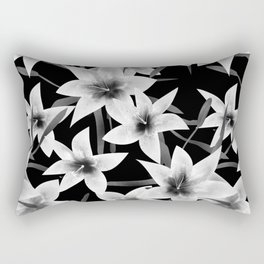 White lilies on a black background . Rectangular Pillow