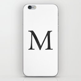 Letter M Initial Monogram Black and White iPhone Skin