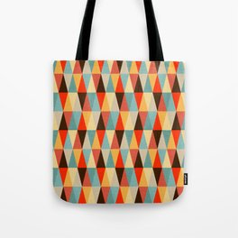 Red & Brown Geometric Triangle Pattern Tote Bag