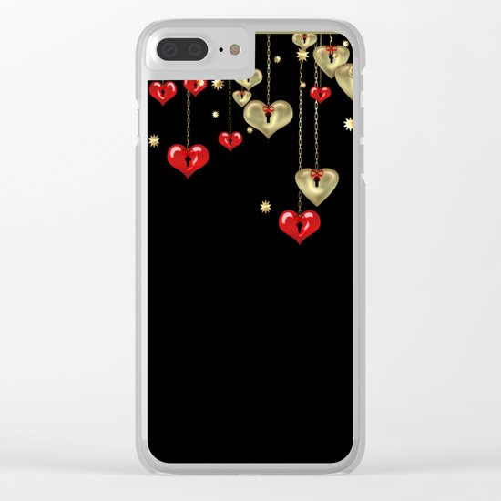 Beautiful glitter shine hearts on black Valentines Day greeting Clear iPhone Case