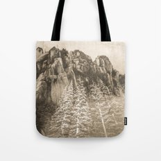 Mountains and Forest - Vintage Sepia Fir Trees at the Peak Tote Bag