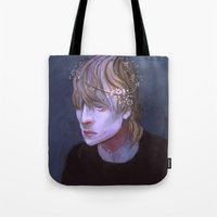 dragon age Tote Bags featuring cole dragon age flowers by Professional Elf