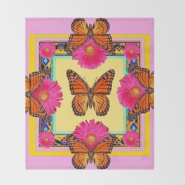 Fuchsia Daisies & Orange Monarch Butterflies Patterns Art Throw Blanket
