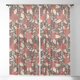 Red, Cream & Brown Floral Pattern Sheer Curtain