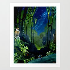 Silent Night in the New Zealand Forest Art Print