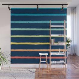 Blue Festival Rainbow Stripe Wall Mural