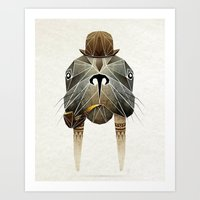 walrus Art Prints featuring walrus by Manoou