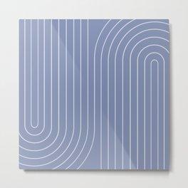 Minimal Line Curvature - Blue Metal Print