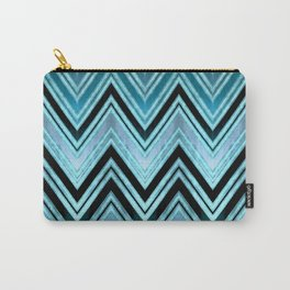 Blue Silk Chevron Carry-All Pouch