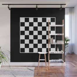 Vintage Chessboard & Checkers - Black & White Wall Mural