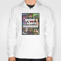 grand theft auto Hoodies featuring Grand Theft Mushroom by Ben Clark
