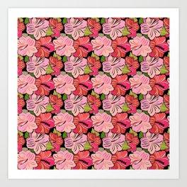 Pink Hibiscus Floral Pattern Art Print