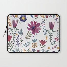 Watercolor Flowers White Laptop Sleeve