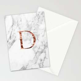 Monogram rose gold marble D Stationery Cards