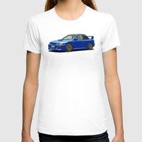 subaru T-shirts featuring Subaru Impreza 22B STI Type UK Sonic Blue by Digital Car Art