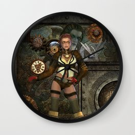 Steampunk, steampunk women with clocks and gears Wall Clock
