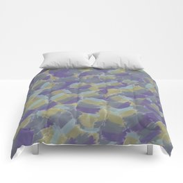 Violet,yellow,gray abstract flowers pattern Comforters