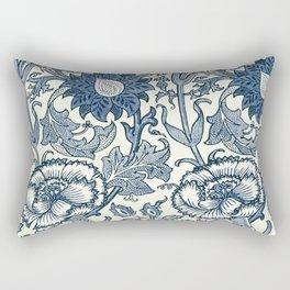 William Morris Navy Blue Botanical Pattern 5 Rectangular Pillow