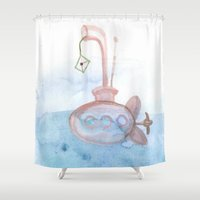 yellow submarine Shower Curtains featuring Submarine by mirelajoja