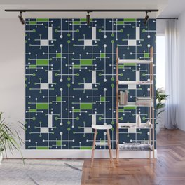 Intersecting Lines in Navy, Lime and White Wall Mural