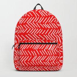 Scarlet Herringbone Lines Backpack