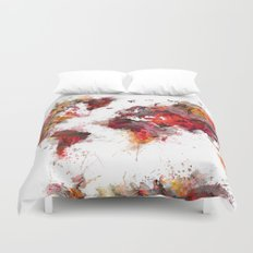 World Map red flowers Duvet Cover