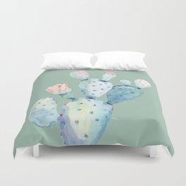 Rose Desert Cactus Mint Green Duvet Cover
