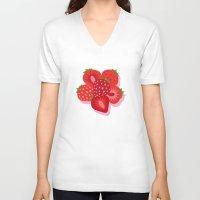 strawberry V-neck T-shirts featuring Strawberry by Helene Michau