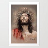 jesus Art Prints featuring Jesus  by Melanie D