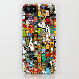 Funny Characters Collage — Culture & Science By Cats iPhone Case