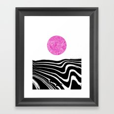 Yumi - spilled ink marble abstract landscape moon space swirl wave black and white modern minimal  Framed Art Print