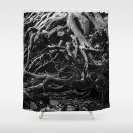 Black and White Tree Root Photography Print Shower Curtain