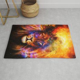 Colorful Lion. Fantasy cosmic space Rug