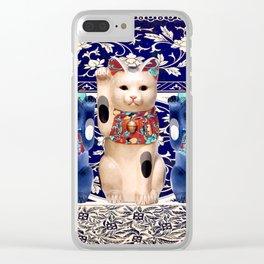 Maneki Neko (Lucky Cat) Trio I Clear iPhone Case