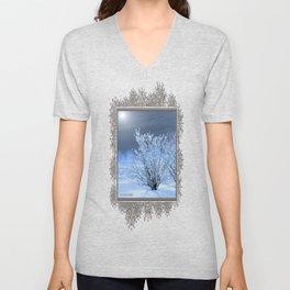 Hoar Frost on the Lilac Bush Unisex V-Neck