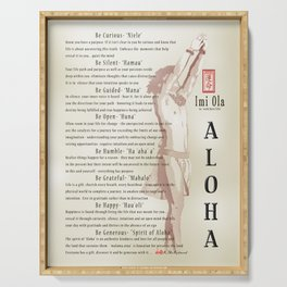 Aloha [Finding your Purpose] vintage art print Serving Tray