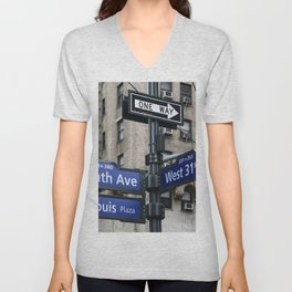 New York City Street Names Unisex V-Neck