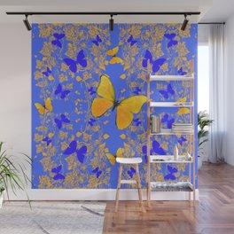 BLUE GOLD BUTTERFLIES PANORAMA ABSTRACT Wall Mural