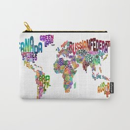 Text Map of the World Carry-All Pouch