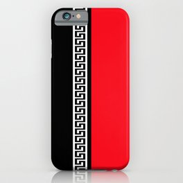 Greek Key 2 - Red and Black iPhone Case