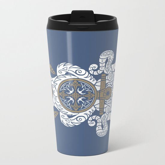 Octopus anchor and compass in tribal style Metal Travel Mug