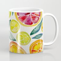 kitchen Mugs featuring Sliced Citrus Watercolor by Cat Coquillette
