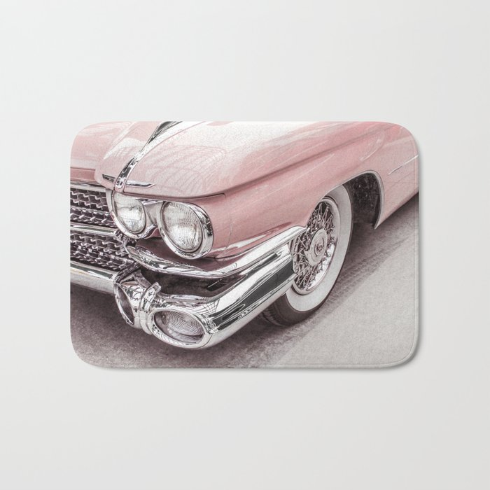 blush pink vintage car bath mat by wildhood society6