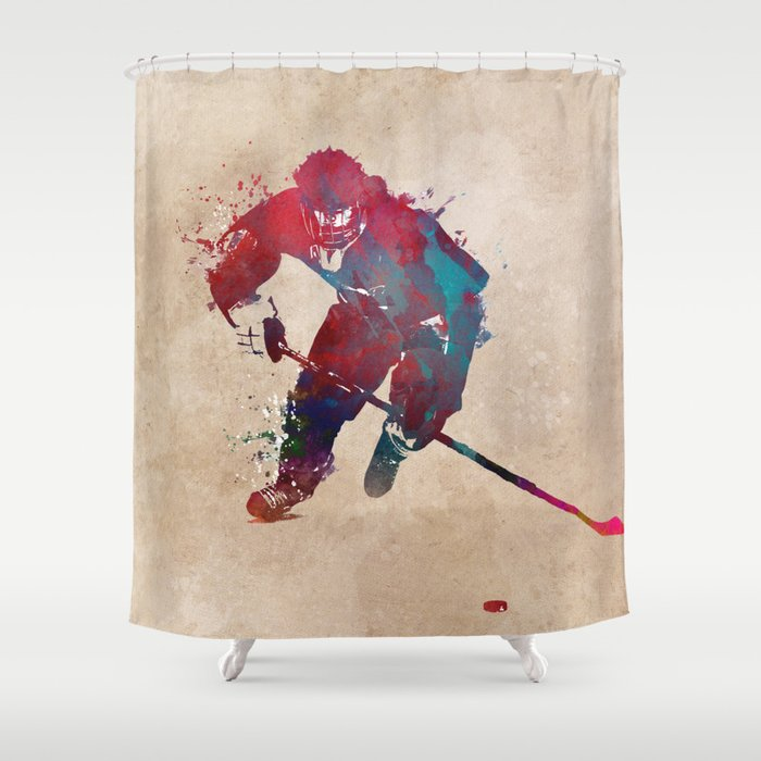 Hockey Player 1 Sport Shower Curtain