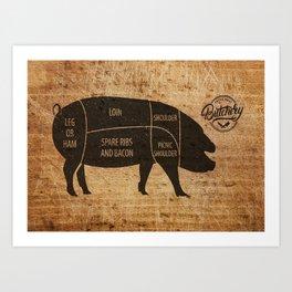 Pig Butcher Chart(woodgrain) Art Print