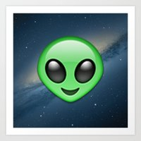 emoji Art Prints featuring Alien Emoji by Nolan Dempsey