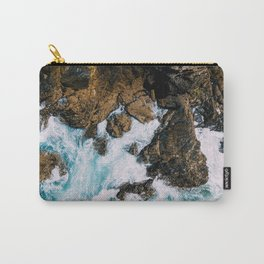 Ocean Waves Crushing On Rocky Landscape, Drone Photography, Aerial Landscape Photo, Ocean Wall Art Carry-All Pouch